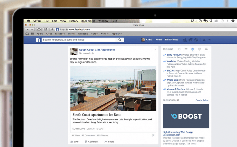 Things Every Apartment Marketer Should Know About Facebook - Facebook ad template