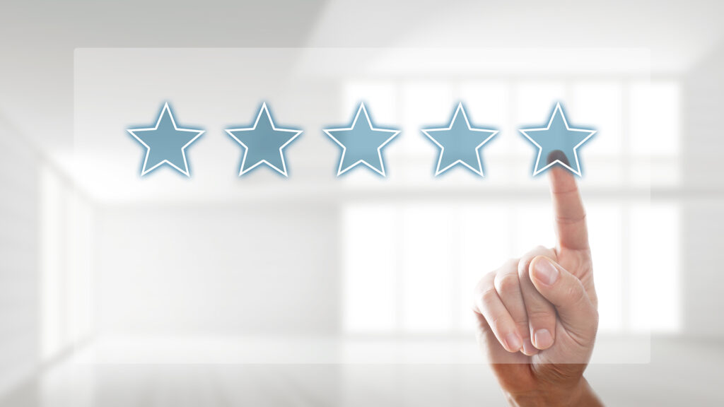 Finger tapping on a virtual 5 star rating