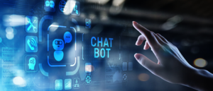 Person using a virtual HUD to converse with a chatbot