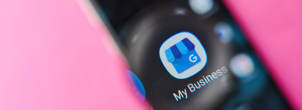 Closeup of a phone screen Google My Business icon