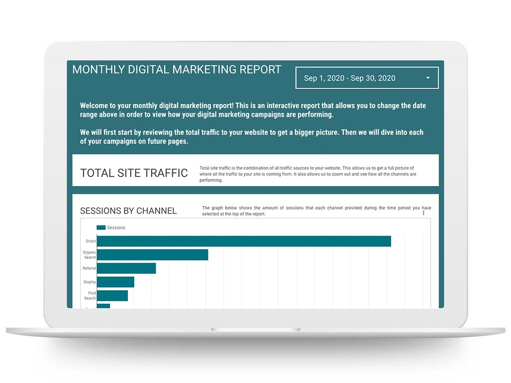 Laptop showing a Respage monthly digital marketing report