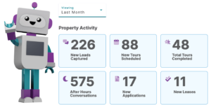 A screenshot of AI Leasing Agent software for apartments created by Respage.