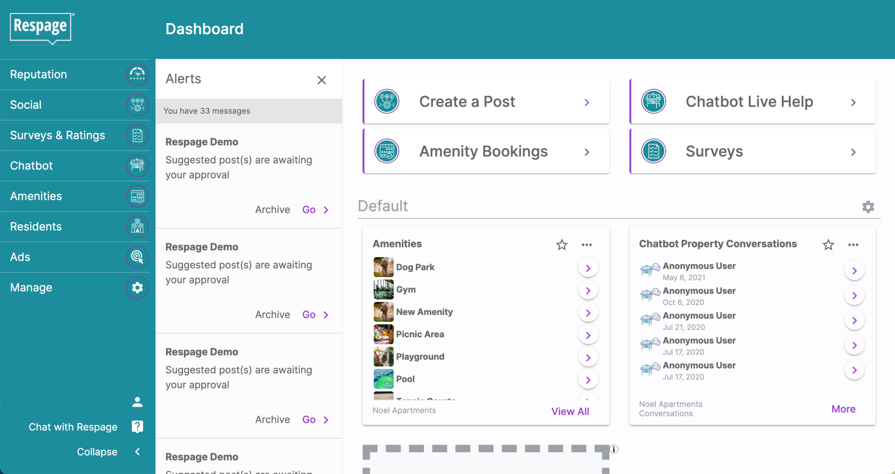 A screenshot of the Respage dashboard.
